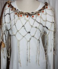 Cream, Brown and Amber Sari Silk and Handknotted Banana Fiber Poncho with Amber Crystal Embellishments