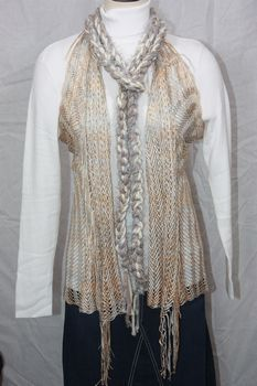 Cream, Taupe and Silver Grey Yarn with Silver Grey Eyelash Crocheted Rope Scarf