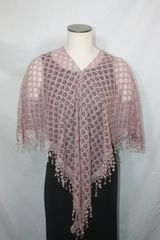 Rosey Beige Lacey with Venetian Lace Fabric Poncho