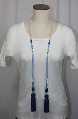 Tassel Lampwork Bead Lariat Necklace Shades of Blue
