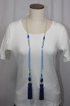 Tassel Lampwork Bead Lariat Necklace Shades of Blue