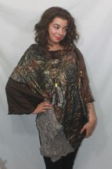 Patchwork Poncho - Gray, Bronze & Browns