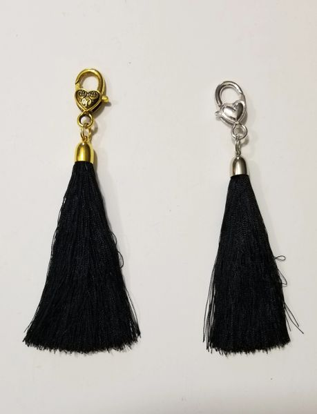 Black Silk Tassels with Clasp