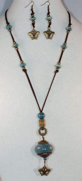 Brown Deer Hide Blue Ceramic Knob Necklace/Earring Set