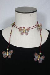 Red Leather Lariat Necklace with Green Freshwater Pearl and Silk Organza Butterfly