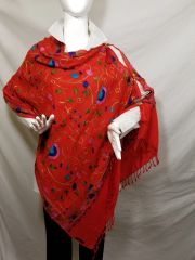 Red Embroidered Kashmir 100% Wool 4 Way Ponchos Pashmina Scarf with Tassel Accent