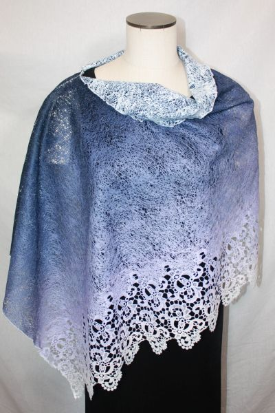 Purpley Blue Fabric with Lace Border Poncho