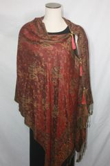 Pashmina Poncho - Red, Brown and Gold Paisley Pattern