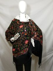Black, Red and Green Medium Embroidered Kashmir 100% Wool 4 Way Ponchos Pashminas with Tassel Accent