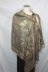 Pashmina Poncho - Light Brown and Gold Butterfly Pattern