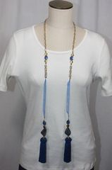 Tassel Stone and Bead Lariat Necklace Shades of Blue