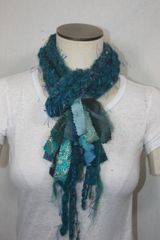 Teal Yarn Pigtail Scarf with Fabric Embellishment