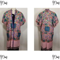 Pink & Blue Embroidered Kimono Jacket Duster Vest