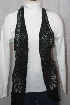 Woven Black with Silver Lurex Vest/Scarf