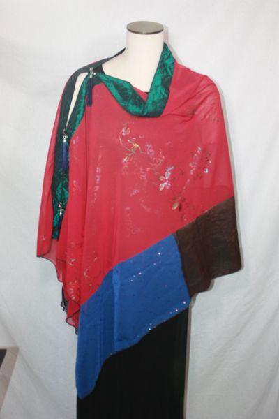 Patchwork Poncho - Deep Red with Iridescent Painted Embellishment with Greens, Blues, Coppers