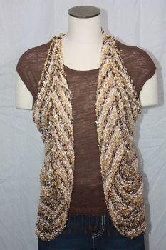 Woven Light Brown/Gold/Cream Stripe Vest/Scarf
