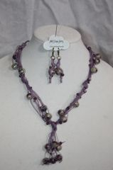 Handknotted Irish Linen Purple Bead and Crystal Necklace & Earring Set