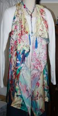 Handmade Exquisite Multi Hues Silk 3-Panel Vest With Tassel Elements Can Also Be Worn a Scarf