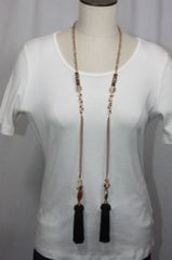 Tassel Stone and Bead Lariat Necklace Shades of Brown