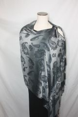 Pashmina Poncho - Black and Silver Paisley Pattern