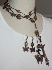 Long Black Leather and Copper Hand Knotted Lariat with Butterfly and Tassel Charms and Earring Set /Belt/Wrap Bracelet