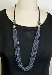 Gunmetal Gray Crystal 3-Way Necklace with Magnetic Clasps