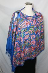 Royal Blue, Pink, Red and Green Heavy Embroidered Kashmiri 100% wool 4 Way Ponchos Pashminas with Tassel Accents