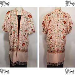 Pink Embroidered Kimono Jacket Duster Vest