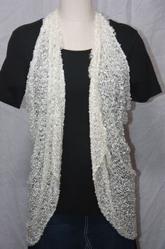 Woven Off White Vest/Scarf