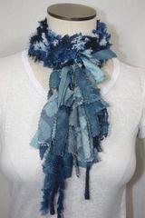 Blue Denim Yarn Pigtail Scarf with Fabric Embellishment