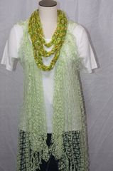 Variegated Lime Greens Crocheted Infinity Scarf