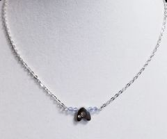 Initial June Birthstone Bar Silver Necklace 16 Inch Chain