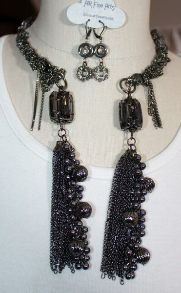 Gunmetal Chain and Bauble Cascade With Tassel Details Double Dangle Necklace and Earring Set