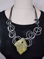 Aluminum Swirls, Leather and Light Green Rough Cut Stone Necklace