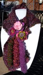 Cozy Multi Deep Magenta Hues, Wool Boucle' Fabric Winter Scarf with Lucite and Yarn Flower Decorative Clasp