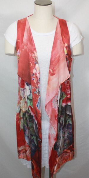 Handmade Exquisite Red Floral Hues Silk 3-Panel Vest With Tassel Elements Can Also Be Worn a Scarf