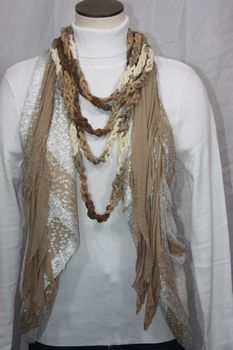 Variegated Browns and Cream Chenille Crocheted Infinity Scarf