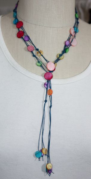 Hand-Knotted Blue Irish Linen Lariat with Multi Hue Shell Necklace