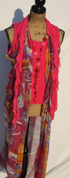 Magenta Print Tunic Vest
