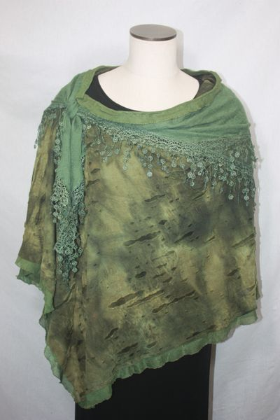 Green Distressed Fabric with Venetian Lace Collar Poncho