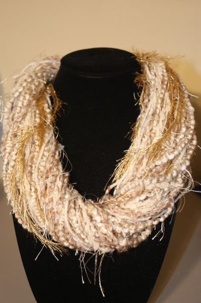 Mix of Creams and Golden Brown Eyelash Yarn Necklace Scarf