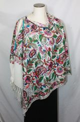 White, Red, Brown, Blue and Green Heavy Embroidered Kashmiri 100% wool 4 Way Ponchos Pashminas with Tassel Accents