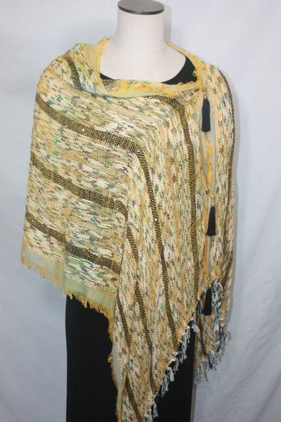 Woven Shades of Yellow, Black, Green, Blue, Purple Vest/Poncho/Scarf with Tassel Accents