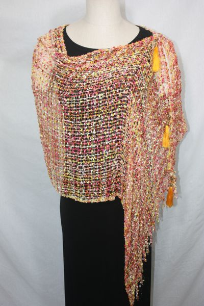 Woven Shades of Yellow, White, Orange, Pink Vest/Poncho/Scarf with Tassel Accents