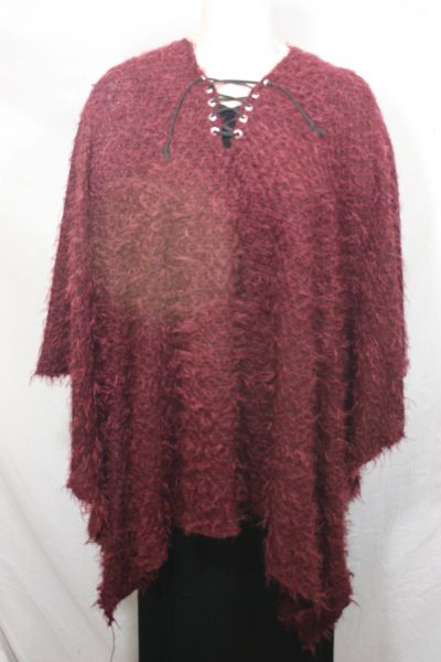 Burgundy, Green, Brown or Teal Sweater Fabric with Suede Laces Poncho