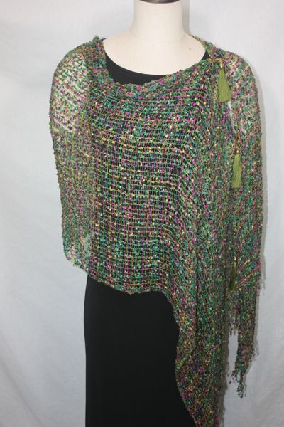 Woven Shades of Olive Green, Purple, Teal Vest/Poncho/Scarf with Tassel Accents