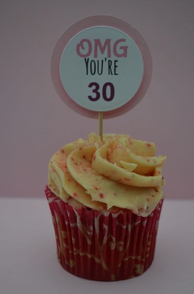 OMG YOU'RE 30 CUPCAKE TOPPERS (PINK)