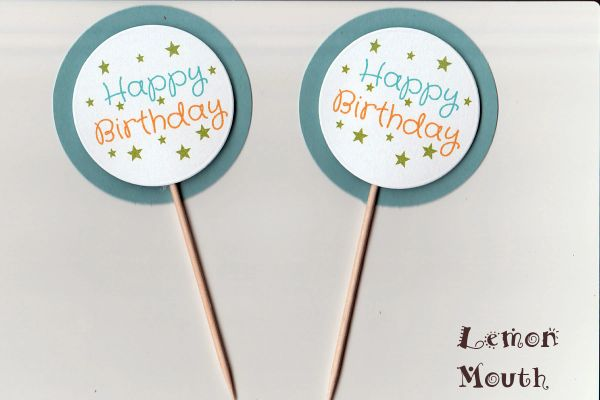 HAPPY BIRTHDAY CUPCAKE TOPPERS / PICKS (BLUE) STARS