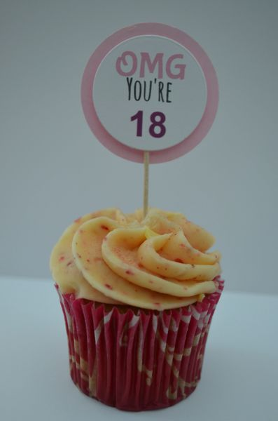 OMG YOU'RE 18 CUPCAKE TOPPERS (PINK)