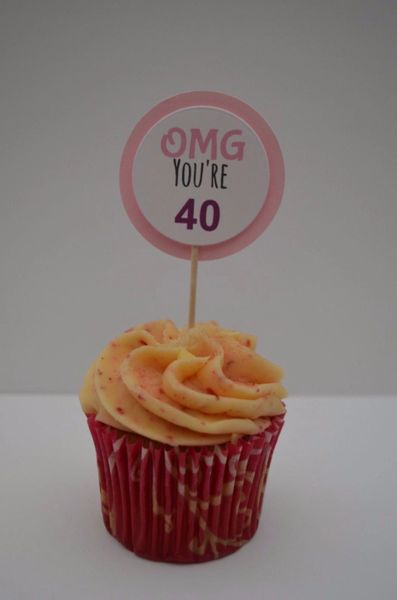 OMG YOU'RE 40 CUPCAKE TOPPERS (PINK)